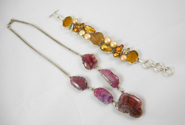 TWO ARTICLES OF GEMSTONE AND STERLING JEWELRY, inc