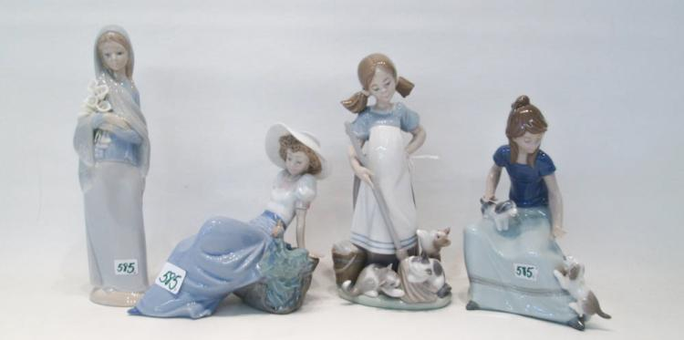 FOUR LLADRO PORCELAIN FIGURINES: