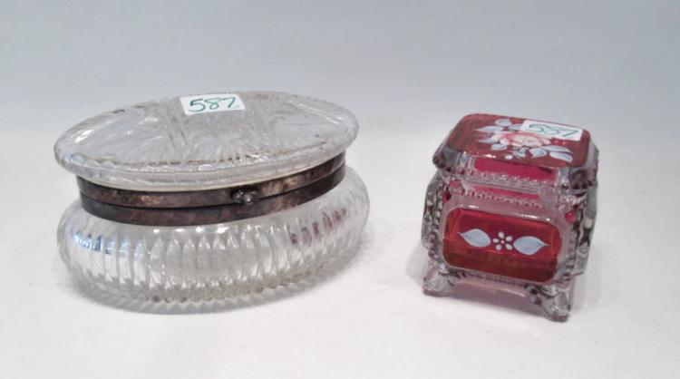 TWO GLASS AND CRYSTAL VANITY BOXES, the first oval
