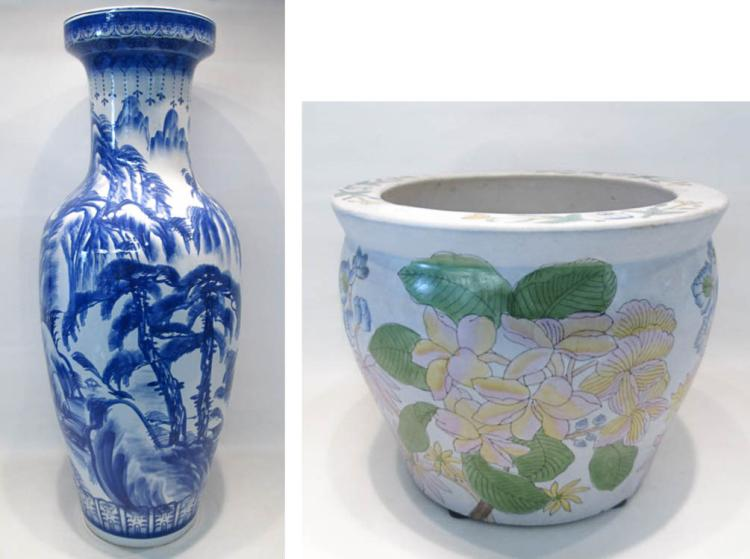 CHINESE PORCELAIN FLOOR VASE AND JARDINIERE.  Blue