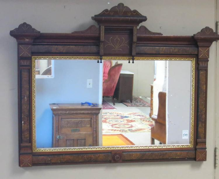 A VICTORIAN OVERMANTEL MIRROR, Eastlake style, c.
