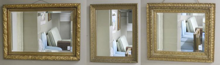 THREE GOLD FRAMED WALL MIRRORS, American, late 19t