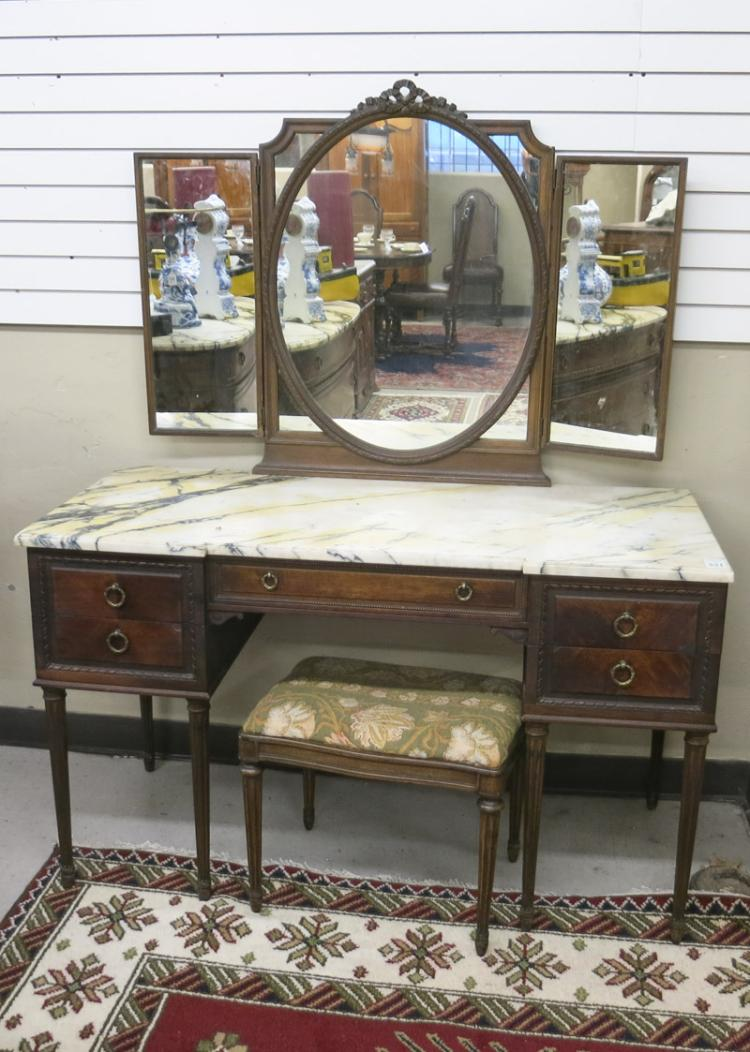 LOUIS XVI STYLE MARBLE-TOP VANITY WITH MATCHING BE