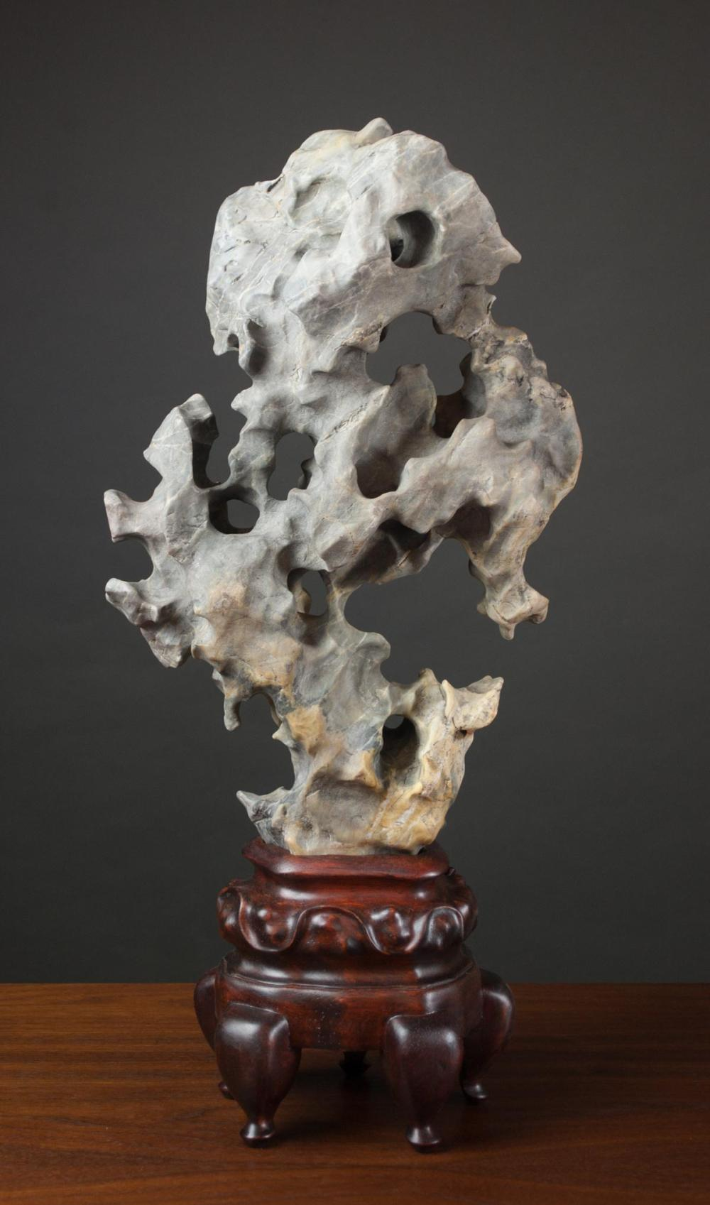 CHINESE SCHOLAR ROCK, vertical variegated grey sto