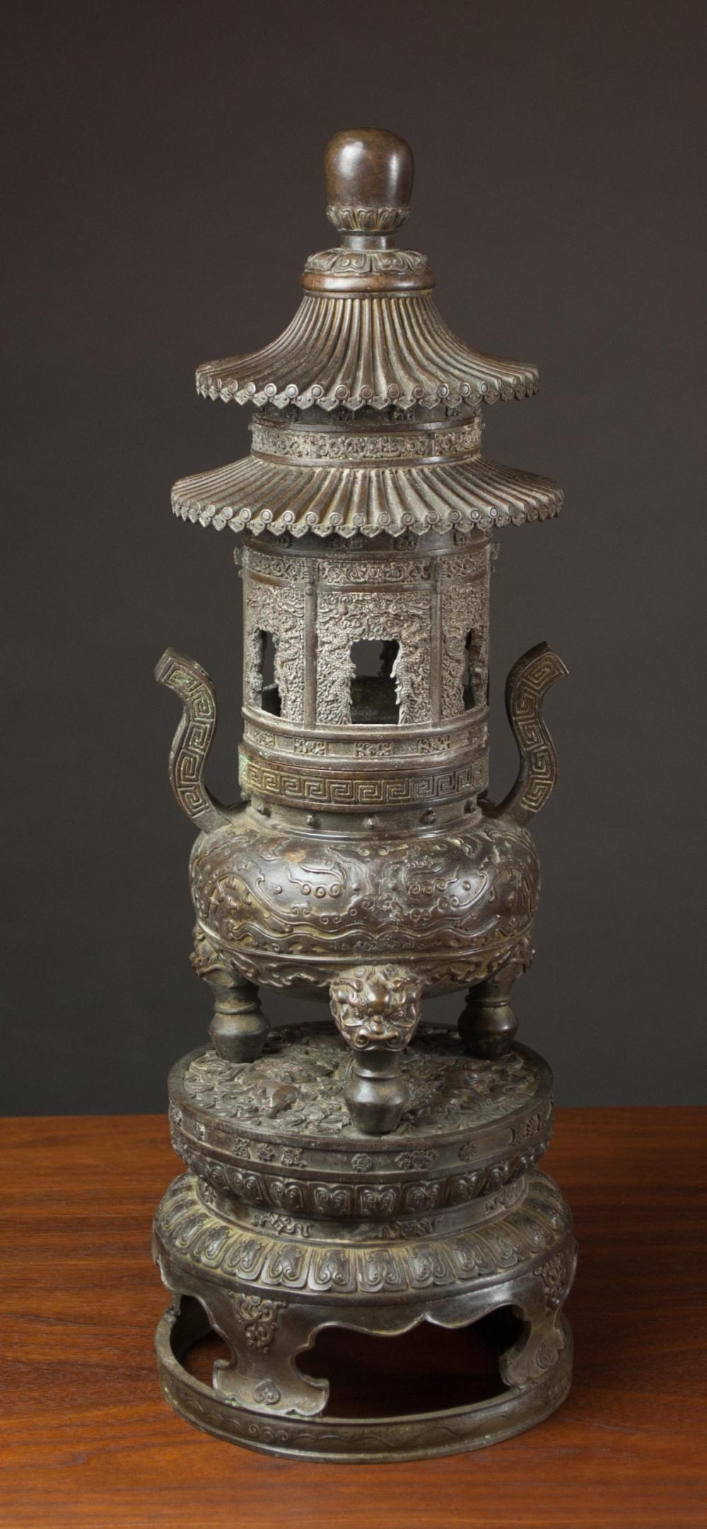 CHINESE BRONZE LIDDED CENSER, in the form of a pag