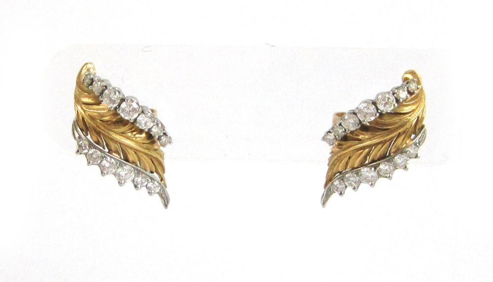 PAIR OF DIAMOND, PLATINUM AND YELLOW GOLD EARRINGS