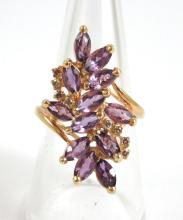 Lot 332: AMETHYST, DIAMOND AND FOURTEEN KARAT GOLD RING, wi