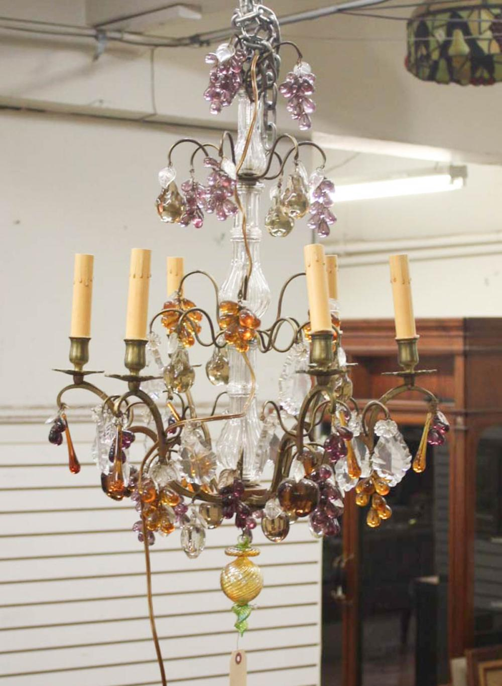 Lot 336: SMALL SIX-LIGHT BRASS, CRYSTAL AND COLOR GLASS CHA
