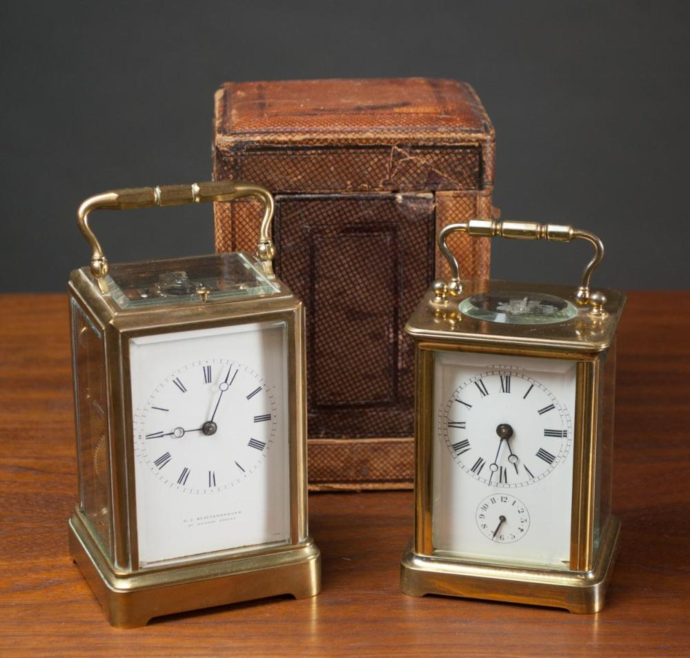 TWO FRENCH/ENGLISH CARRIAGE CLOCKS AND ONE TRAVEL