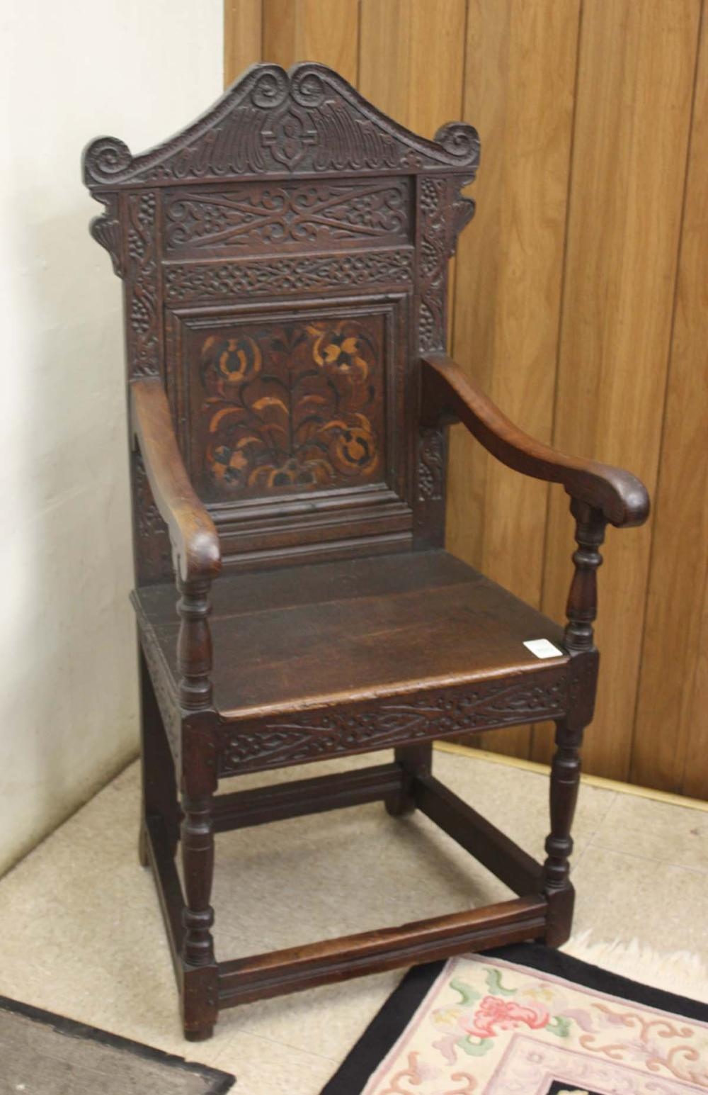 Lot 350: A CARVED AND INLAID WAINSCOT ARMCHAIR, English, 17