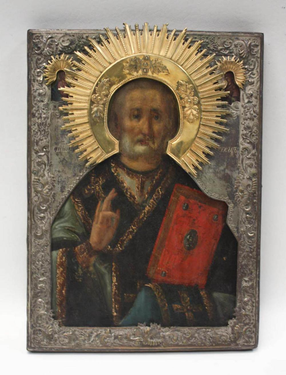 Lot 343: 19TH CENTURY RUSSIAN ICON, ST. NICHOLAS, painting