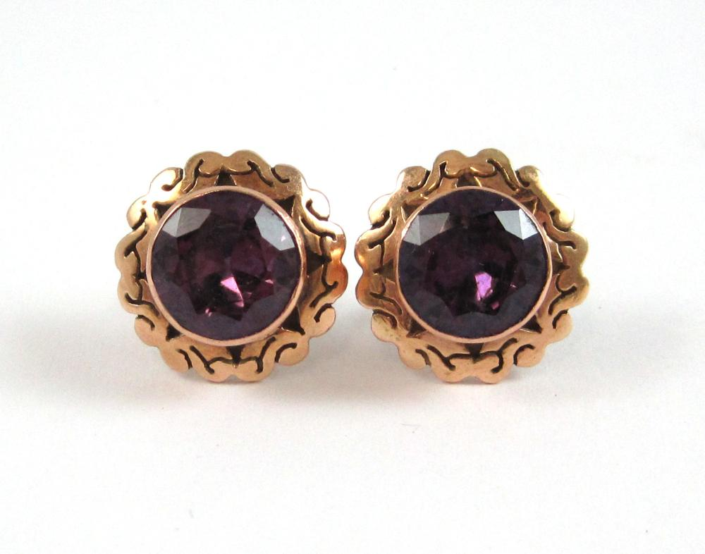 Lot 575: PAIR OF SYNTHETIC COLOR CHANGE SAPPHIRE EARRINGS,