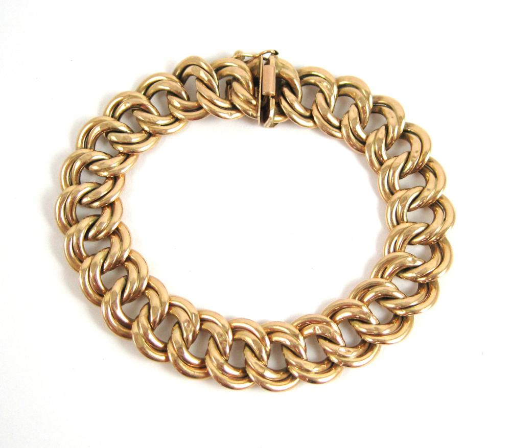 Lot 369: MILROS FOURTEEN KARAT GOLD BRACELET. The 14k yell