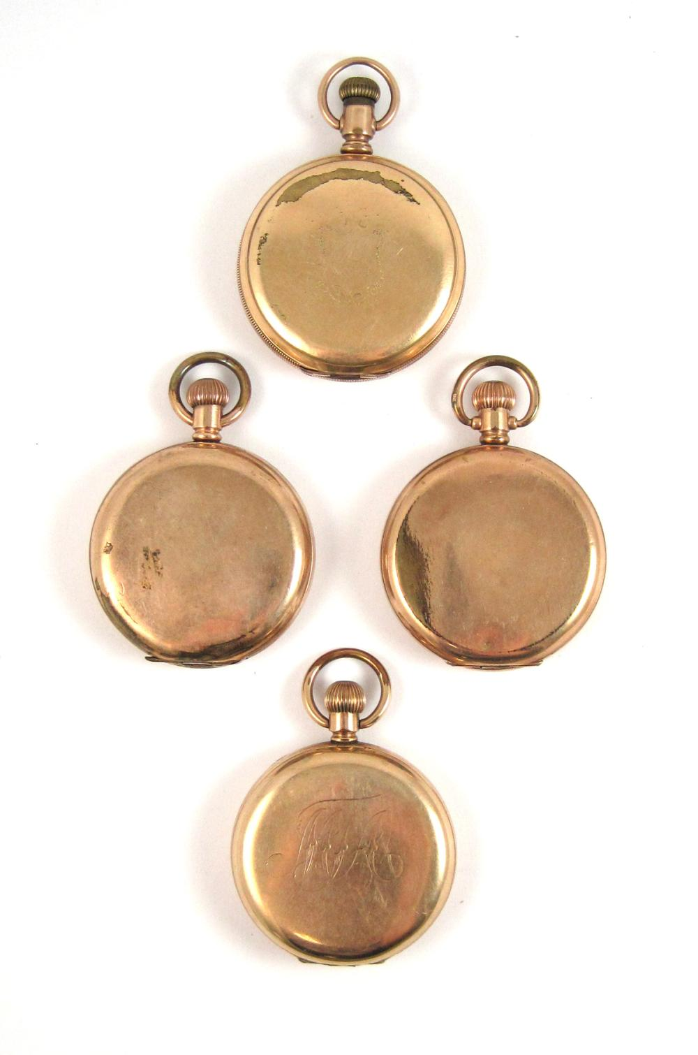 Lot 368: FOUR WALTHAM GOLD PLATED HUNTER CASE POCKET WATCHE