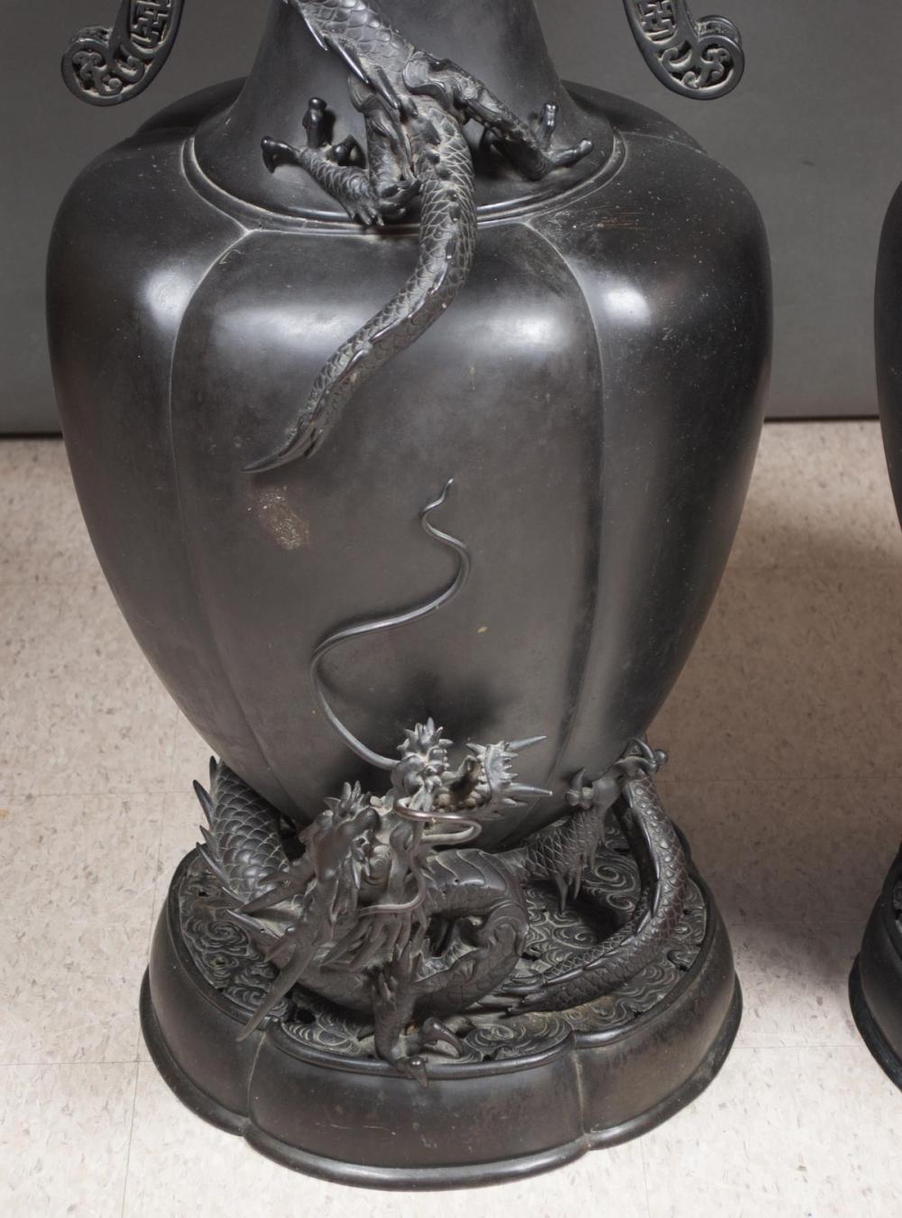 Lot 389: PAIR OF JAPANESE EXPORT BRONZE DRAGON FLOOR VASES,