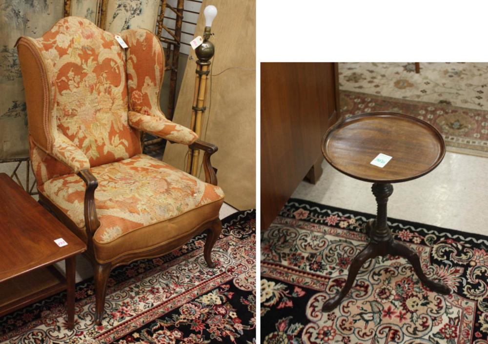 NEEDLEPOINT WINGBACK ARMCHAIR AND TRIPOD OCCASIONA