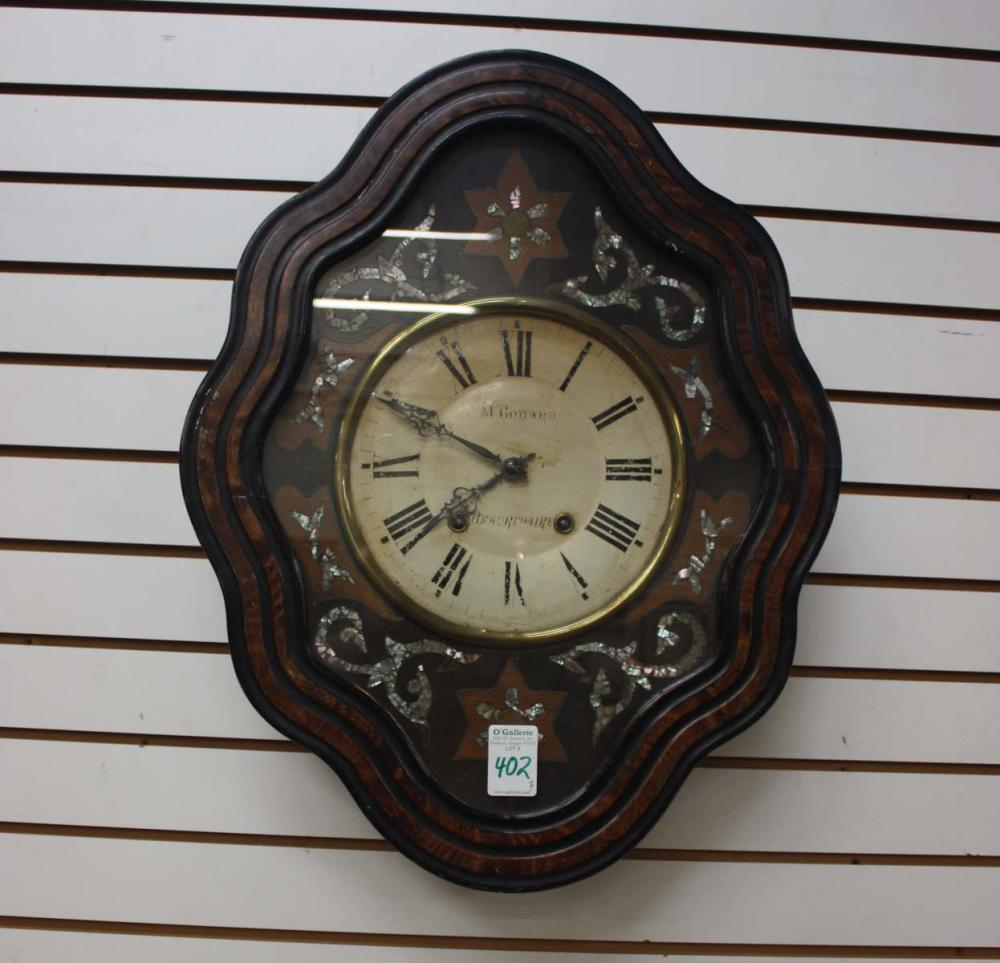 Lot 402: THREE ANTIQUE EUROPEAN WALL CLOCKS: 1) French pic