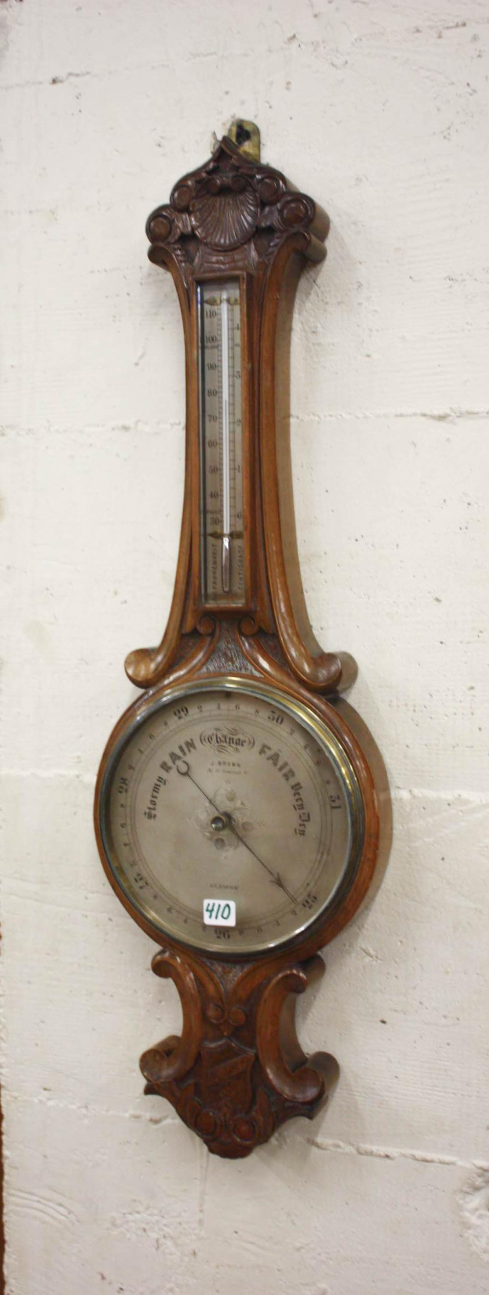 Lot 410: VICTORIAN SCOTTISH BANJO BAROMETER/THERMOMETER, Ja