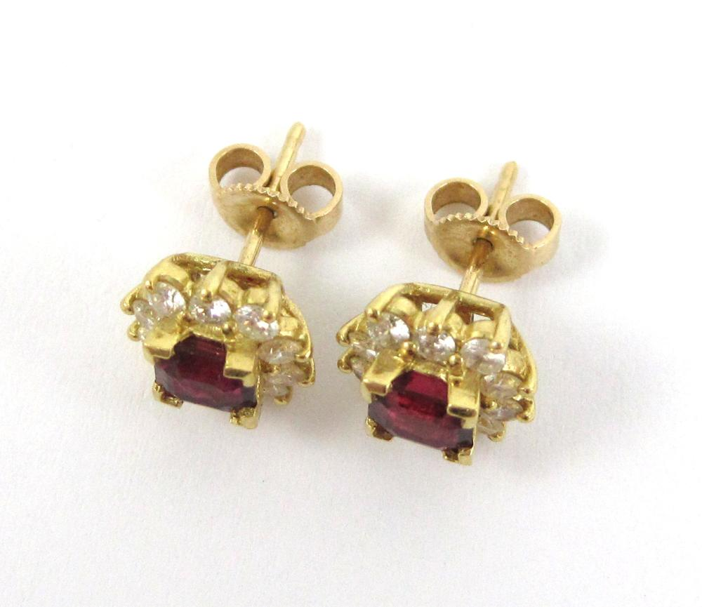Lot 407: PAIR OF RUBY AND DIAMOND STUD EARRINGS, each 14k y
