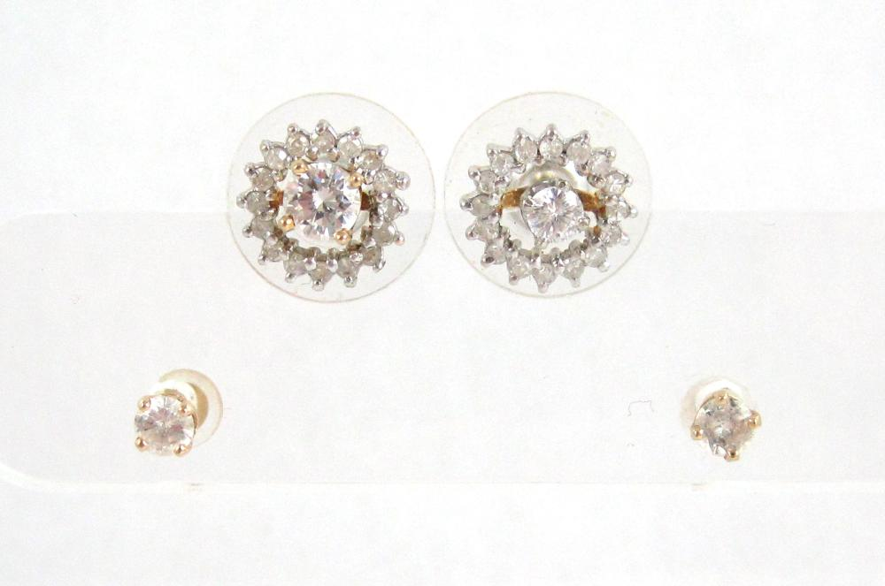 Lot 411: TWO PAIRS OF EAR STUDS AND PAIR EARRING ENHANCERS,