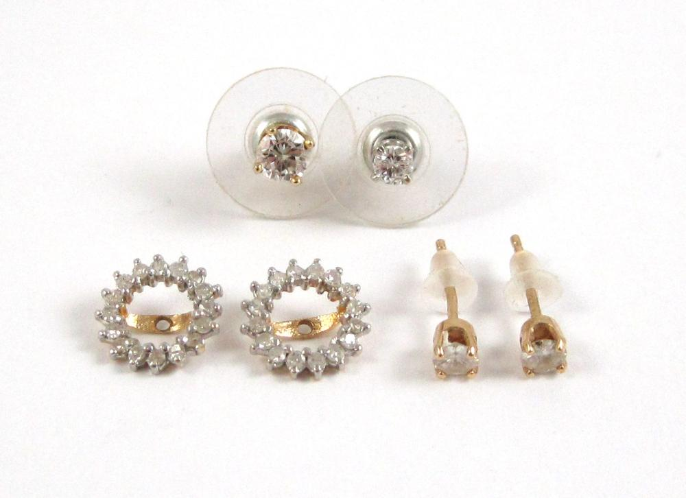TWO PAIRS OF EAR STUDS AND PAIR EARRING ENHANCERS,