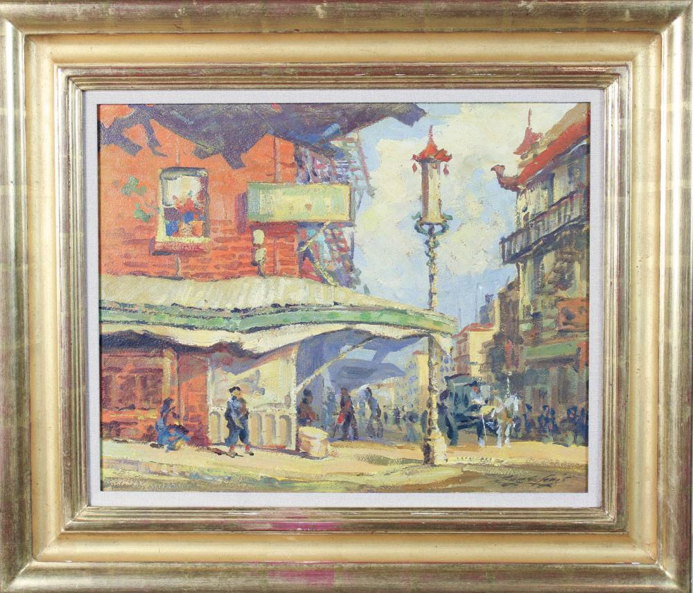 Lot 422: JAPANESE STREET SCENE, OIL ON BOARD, circa early 2