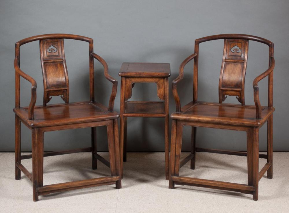 PAIR OF CHINESE HUALI WOOD ARMCHAIRS AND MATCHING