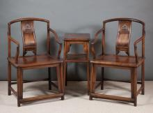 Lot 426: PAIR OF CHINESE HUALI WOOD ARMCHAIRS AND MATCHING