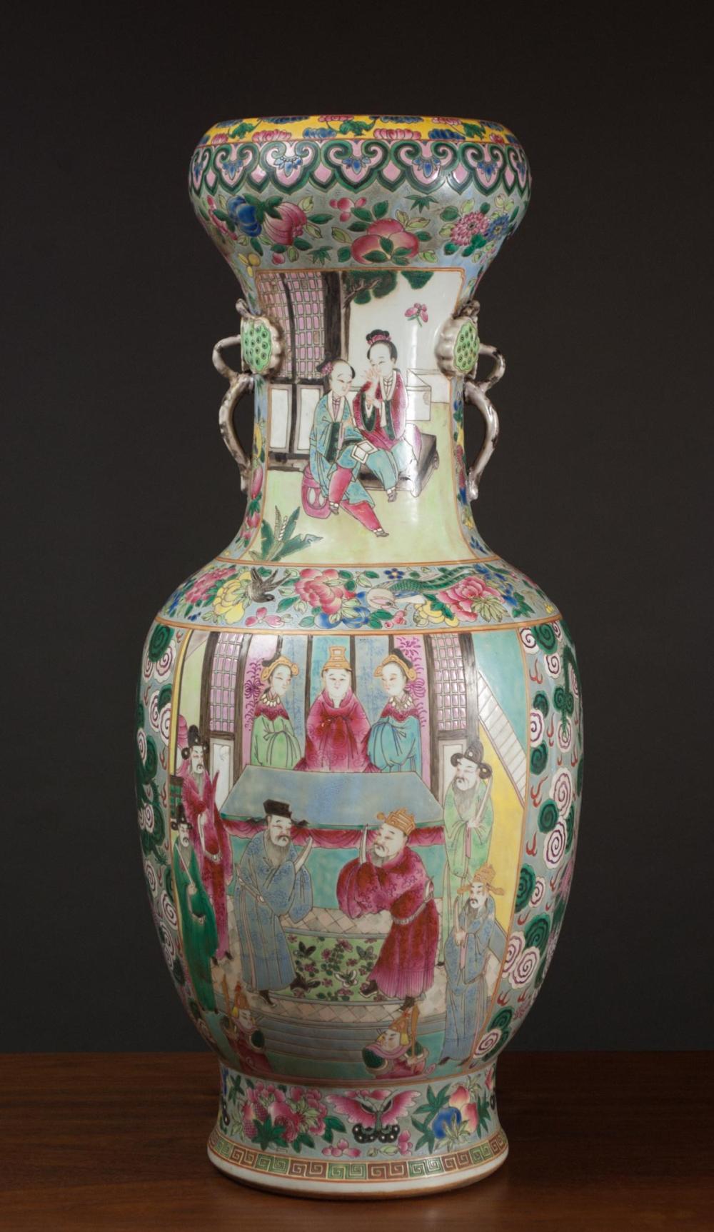 CHINESE FAMILE ROSE PORCELAIN VASE, of garlic head