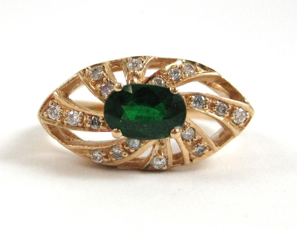 TSAVORITE, DIAMOND AND FOURTEEN KARAT GOLD RING, w