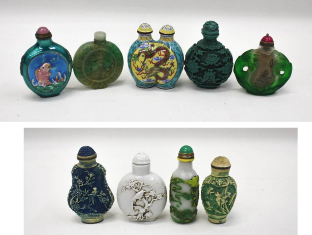 COLLECTION OF NINE CHINESE SNUFF BOTTLES, of vario