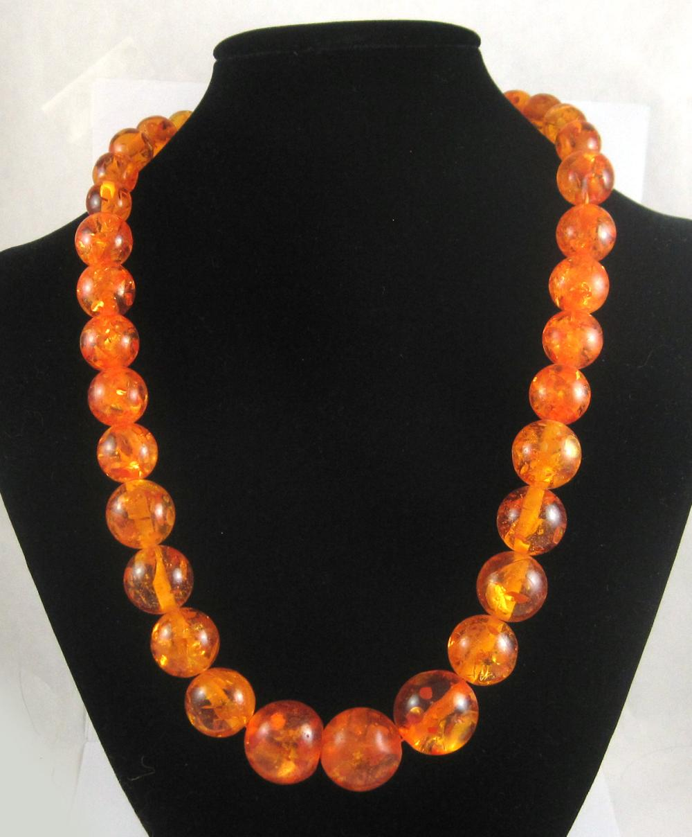NATURAL BALTIC AMBER GRADUATED BEAD NECKLACE, meas