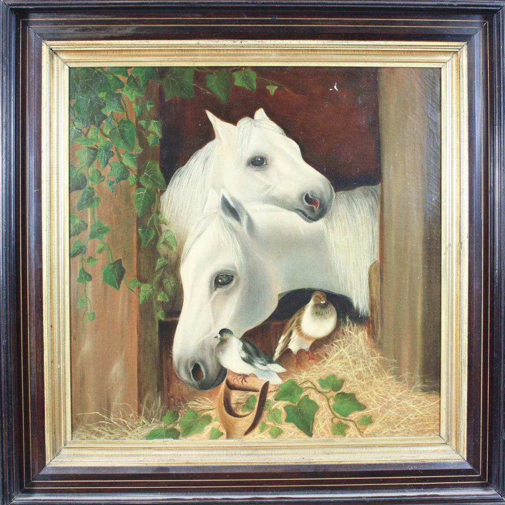 19TH CENTURY OIL ON CANVAS, stable scene with whit