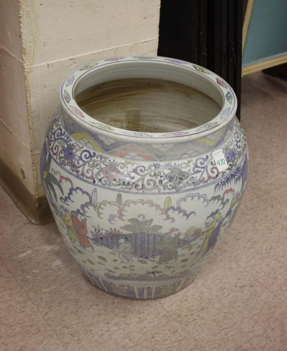 LARGE CHINESE DOUCAI PORCELAIN FLOOR JAR, the exte