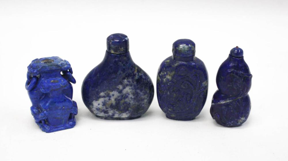 FOUR CHINESE CARVED LAPIS LAZULI SNUFF BOTTLES, al