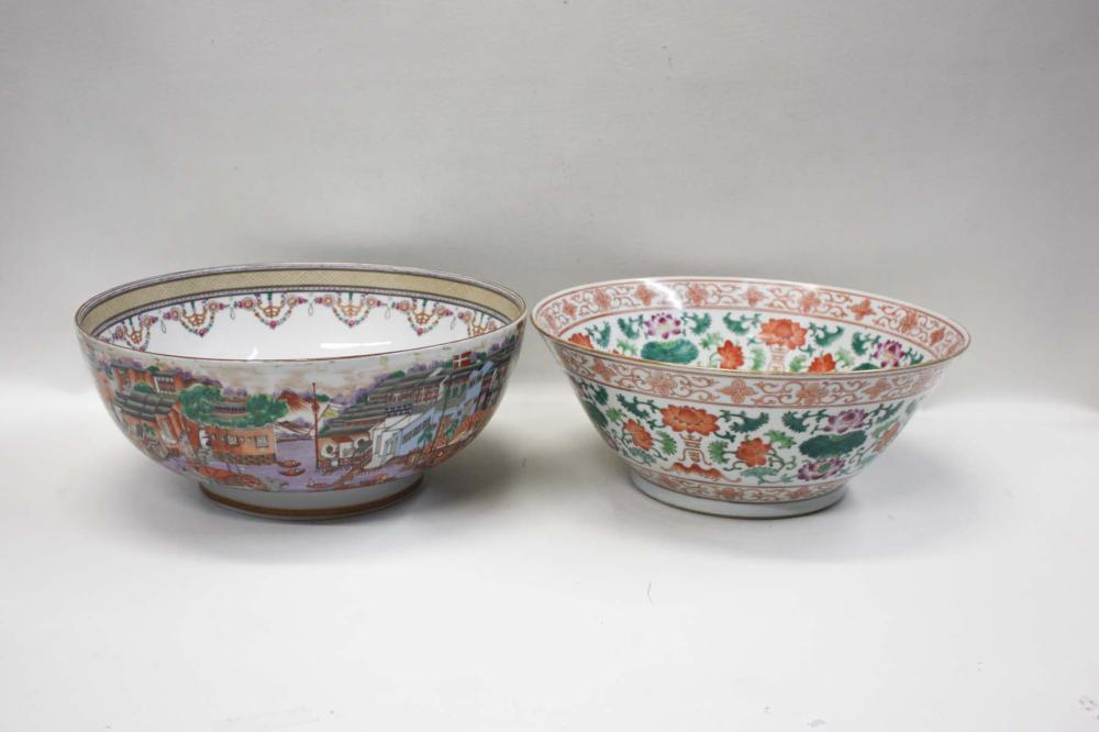 TWO PORCELAIN BOWLS, including a Chinese centerpie