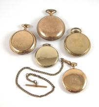 Lot 465: FIVE GOLD PLATED WALTHAM OPEN FACE POCKET WATCHES: