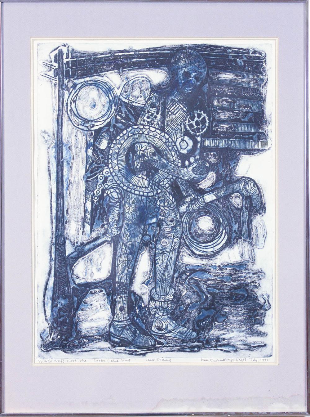 "BRUCE ONOBRAKPEYA (Nigeria, born 1932) etching, ""E"