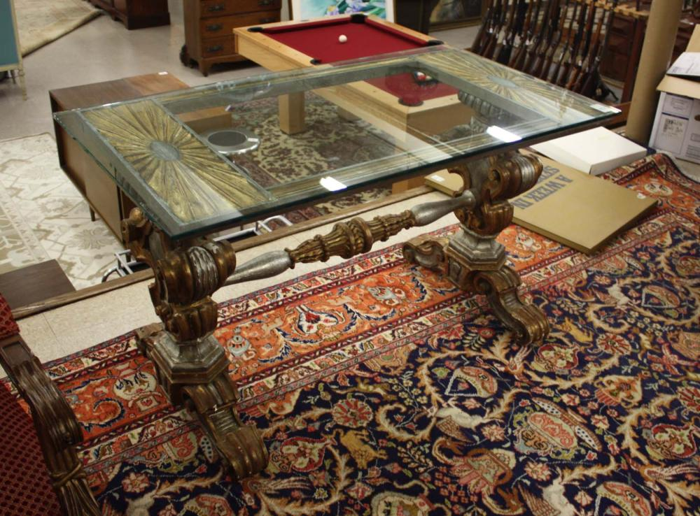 Lot 492: FLORENTINE STYLE GLASS-TOP CENTER TABLE, early 20t