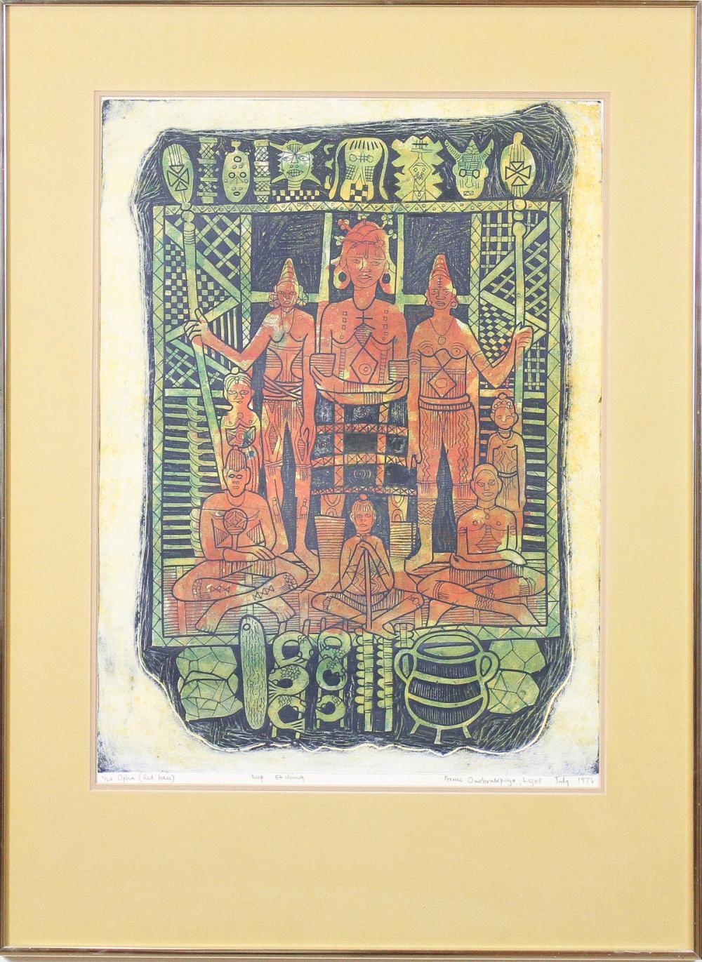 """BRUCE ONOBRAKPEYA (Nigeria, born 1932) etching, """"O"""