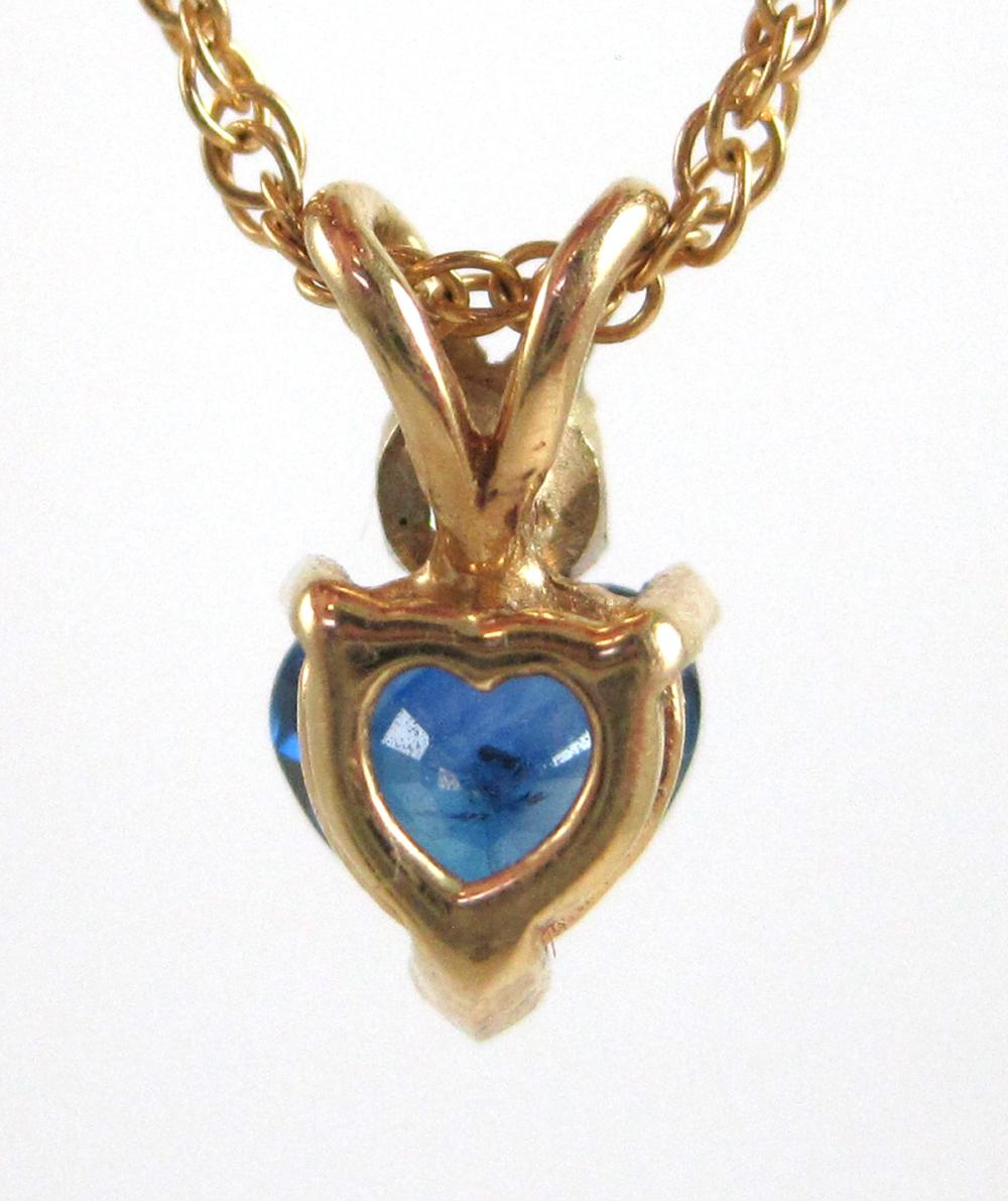 """Lot 499: SAPPHIRE AND DIAMOND PENDANT NECKLACE, with a 16"""""""