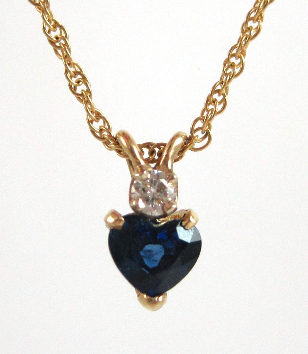 """SAPPHIRE AND DIAMOND PENDANT NECKLACE, with a 16"""""""