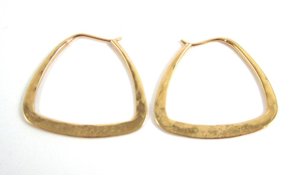 Lot 509: THREE PAIRS OF ED LEVIN YELLOW GOLD EARRINGS, incl