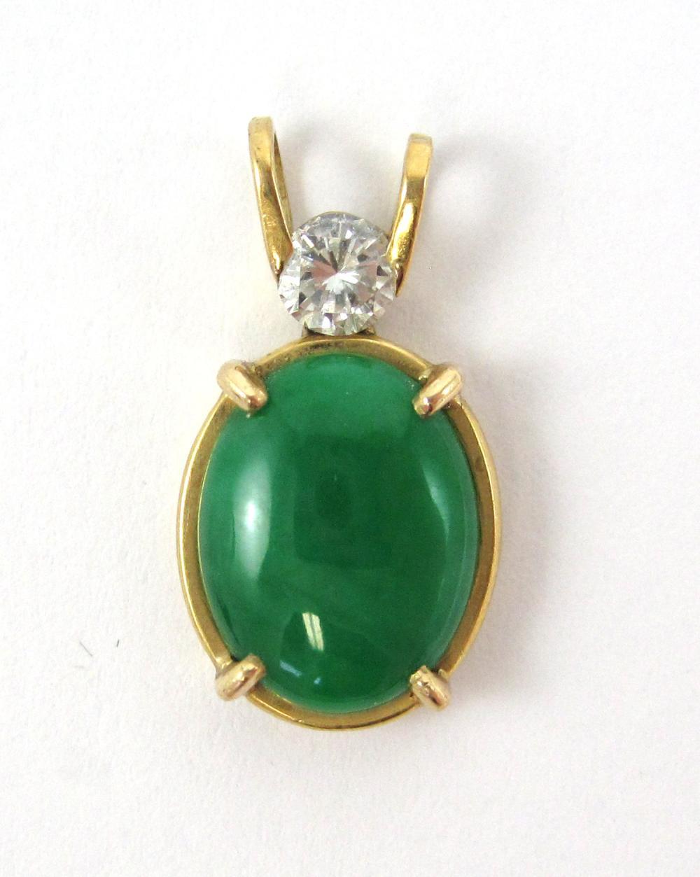 Lot 511: JADE, DIAMOND AND FOURTEEN KARAT GOLD PENDANT, wit