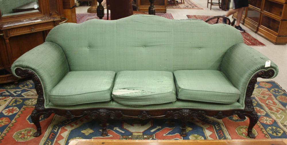 Lot 514: GEORGE III STYLE CARVED AND UPHOLSTERED MAHOGANY S
