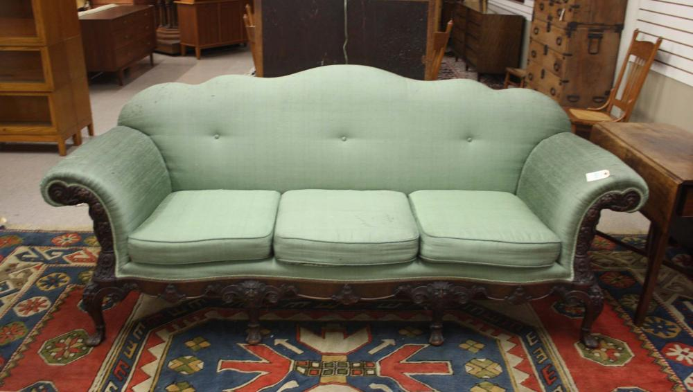 Lot 513: GEORGE III STYLE CARVED AND UPHOLSTERED MAHOGANY S