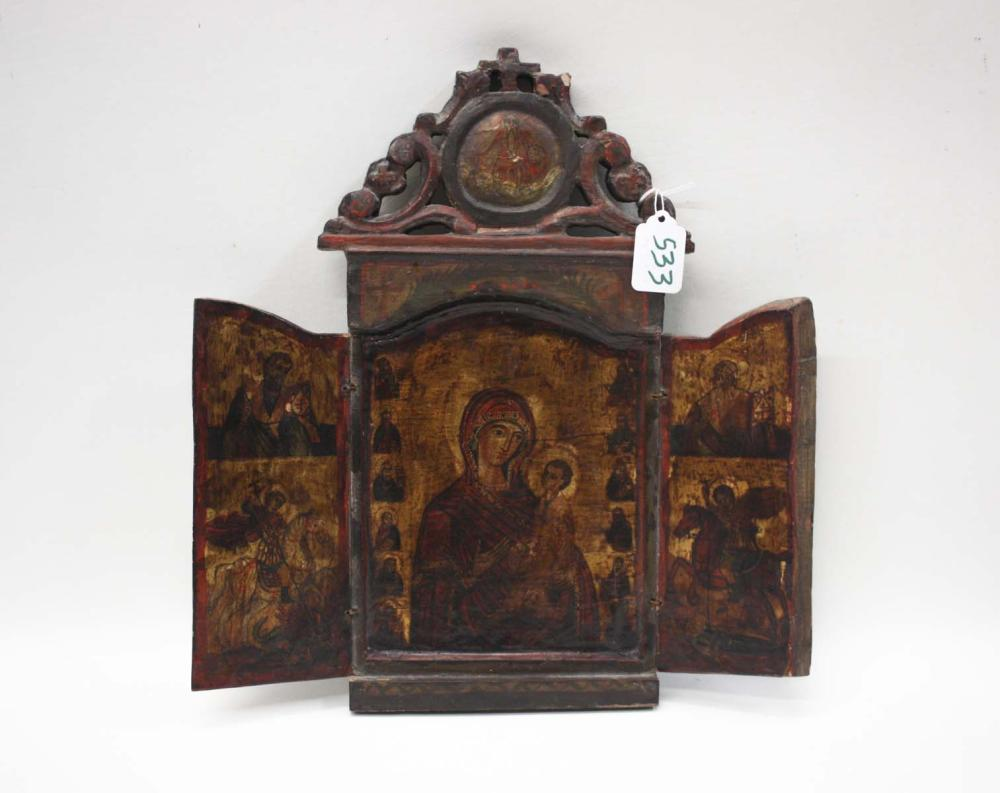 Lot 533: RUSSIAN ICON, MOTHER OF GOD, late 19th century, in
