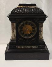 Lot 542: FRENCH BLACK MARBLE MANTEL CLOCK, Samuel Marti & C