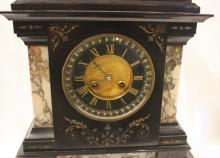 Lot 542: FRENCH BLACK MARBLE MANTEL CLOCK, Samuel Marti & C