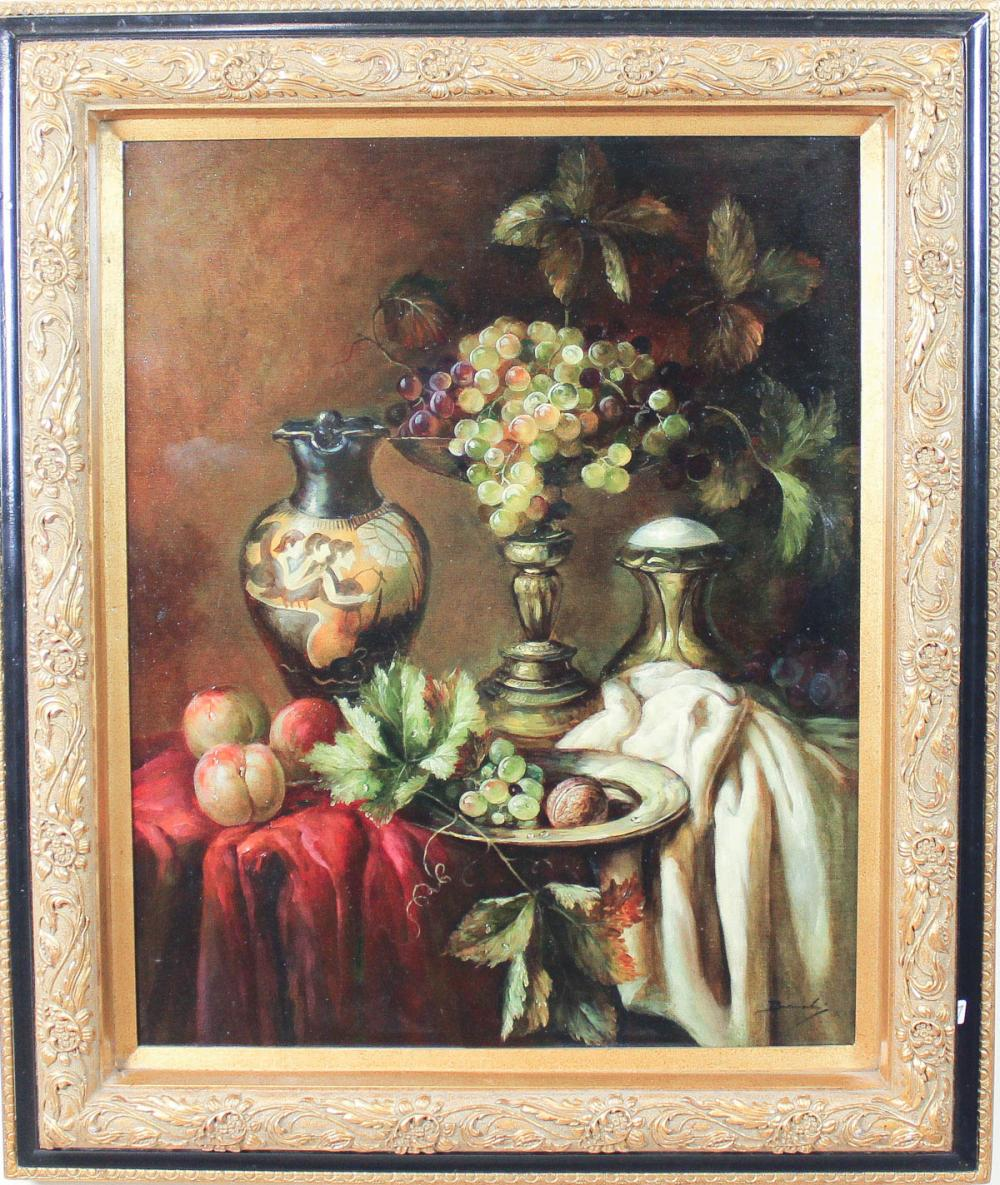 Lot 537: STILL-LIFE OIL ON CANVAS, featuring fruit and vase